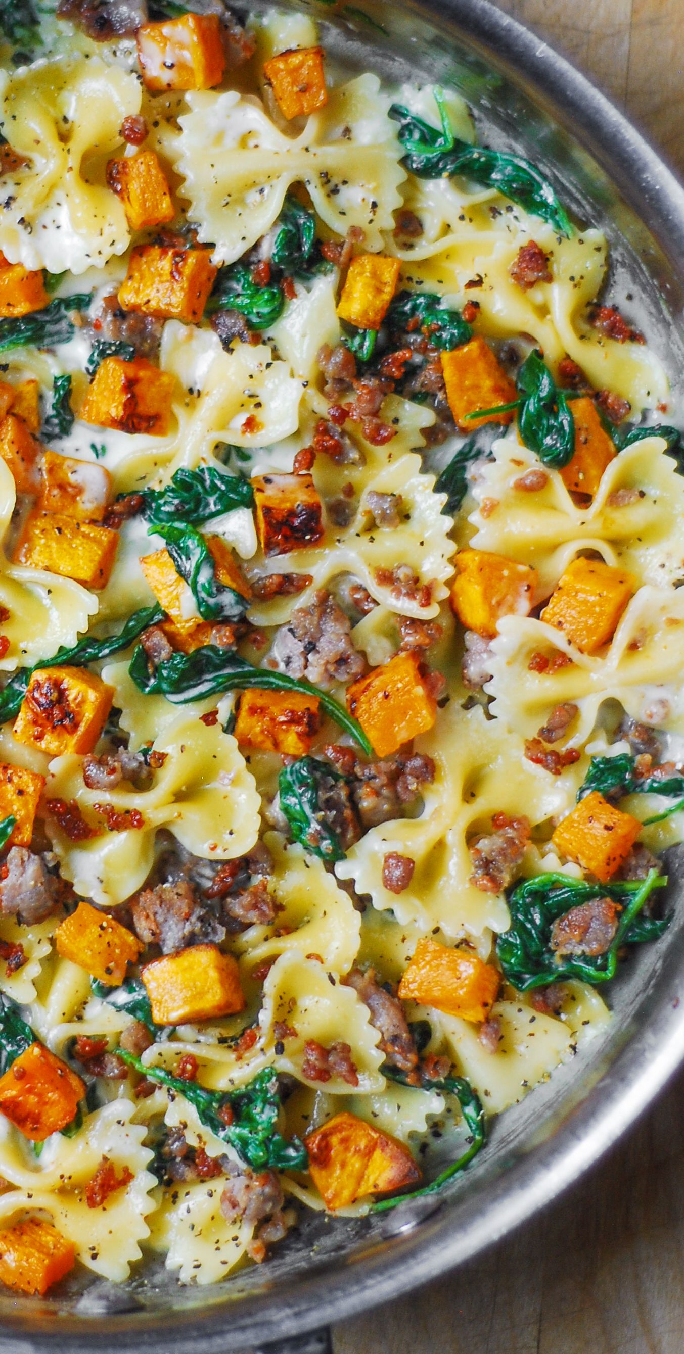 Creamy Butternut Squash Pasta with Sausage and Spi
