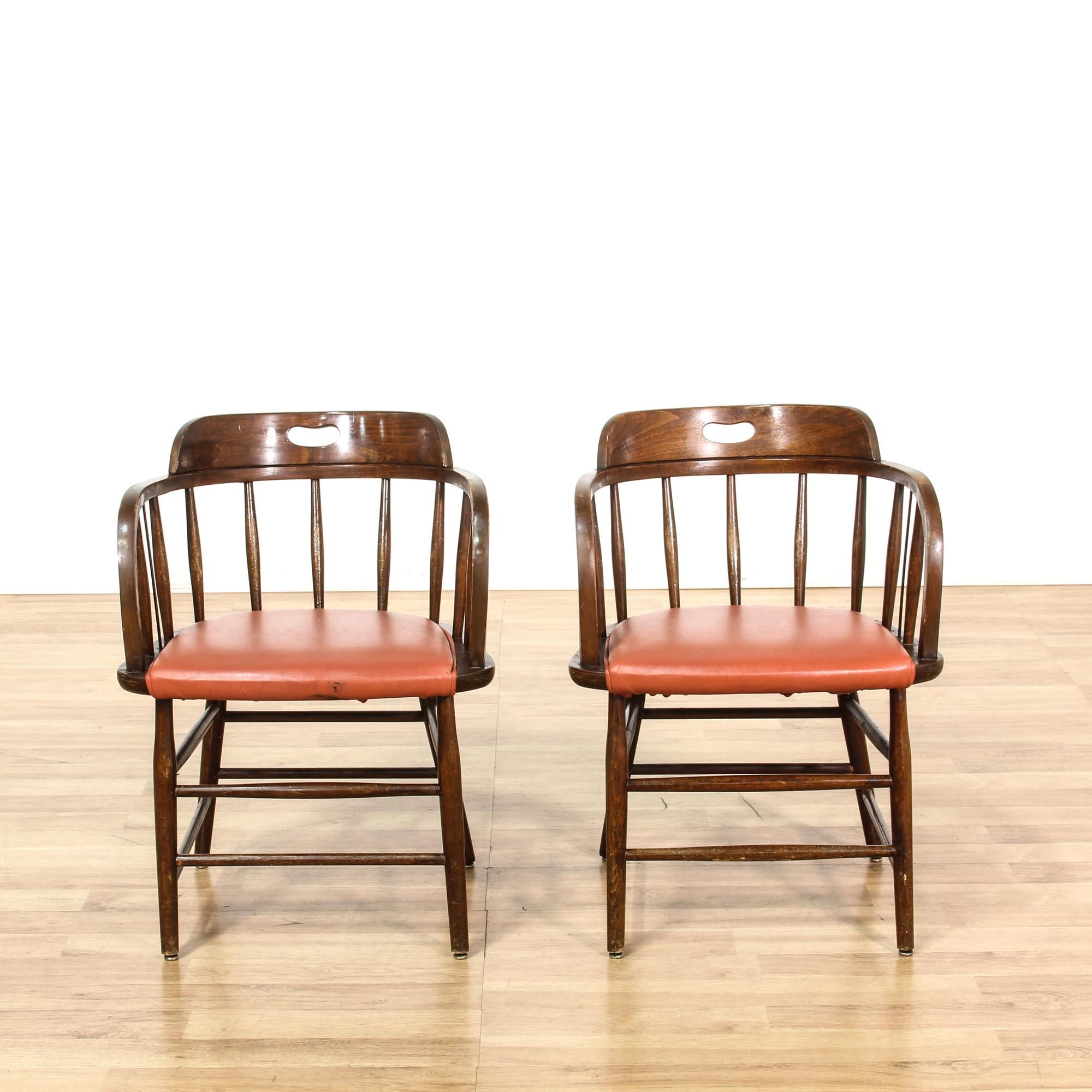 This Pair Of Dining Chairs Is Featured In A Solid Wood With A Glossy Walnut Finish Each Traditional Style Side Chair H Orange Cushions Chair Vintage Furniture