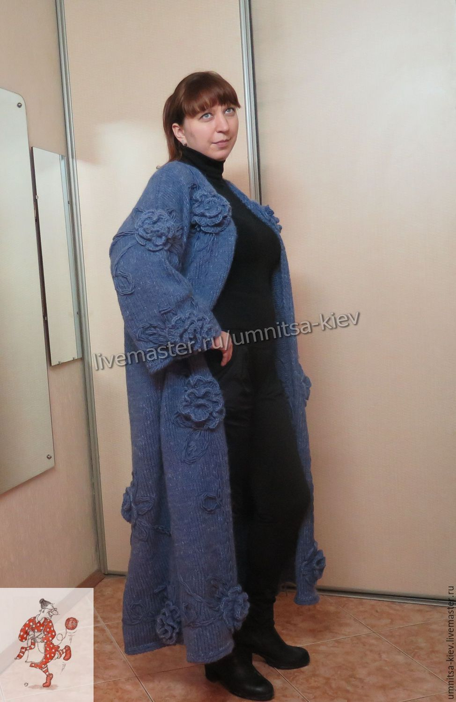 купить шикарное вязаное пальто розы синий вязание на заказ