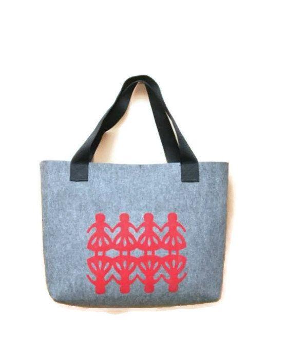 Felt Handbag  felt bag Shopping Bag Gray folk by AgathasBags, $50.00
