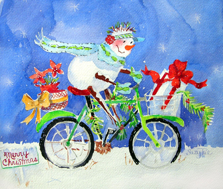 Snowman Christmas bike