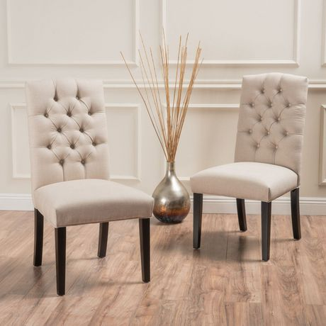 Noble House Regal Crown Fabric Off White Dining Chairs Set Of 2