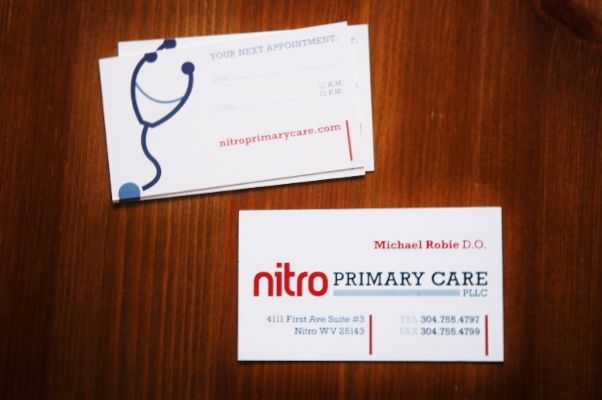 Nitro Primary Care business card / appointment card, printing // Client: Dr. Mike Robie, Nitro Primary Care http://nitroprimarycare.com