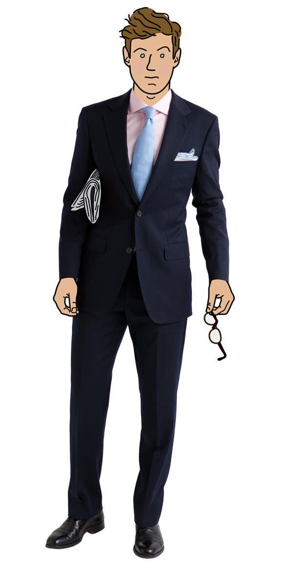 Navy Suit Pink Shirt Light Blue Tie Clothes