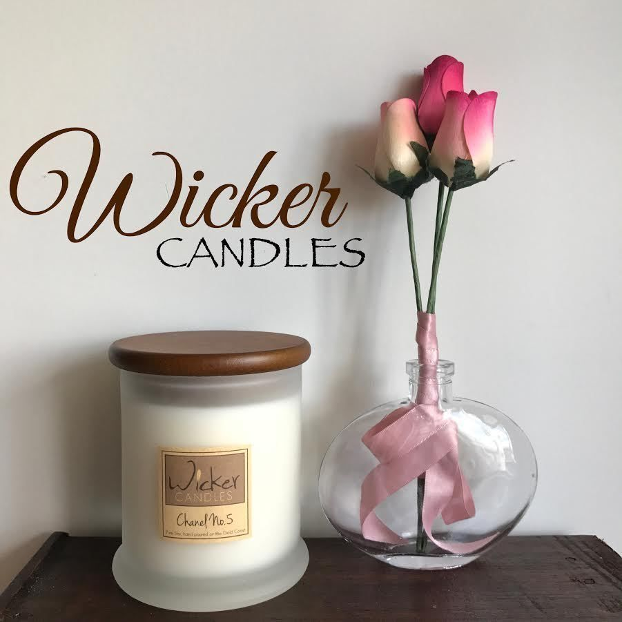 Wicker Candles Natural Soy Wax Wooden Wick , Rose, Lavender, Violet ...
