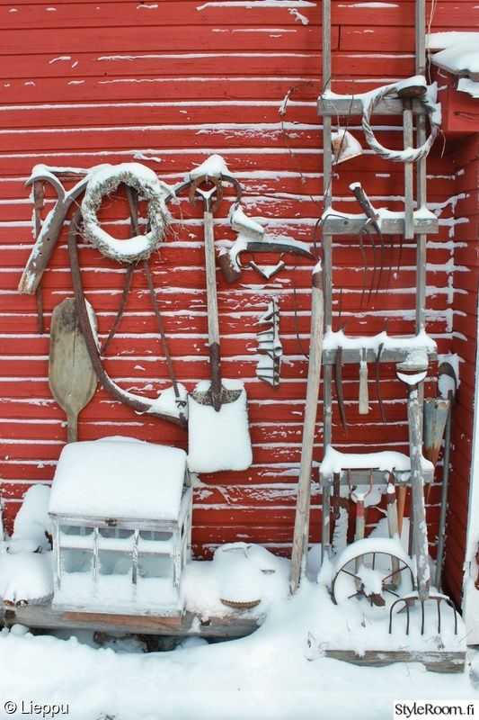 talvi,asetelma,heinäseiväs,puutarha,piha