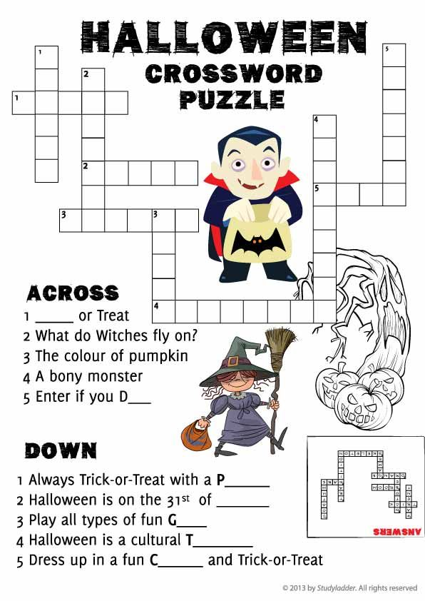 Halloween crossword puzzle | Free teaching resources | Pinterest ...