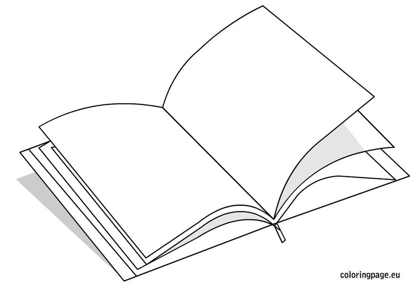 Open Book Coloring Page Cool Things Coloring Books Coloring