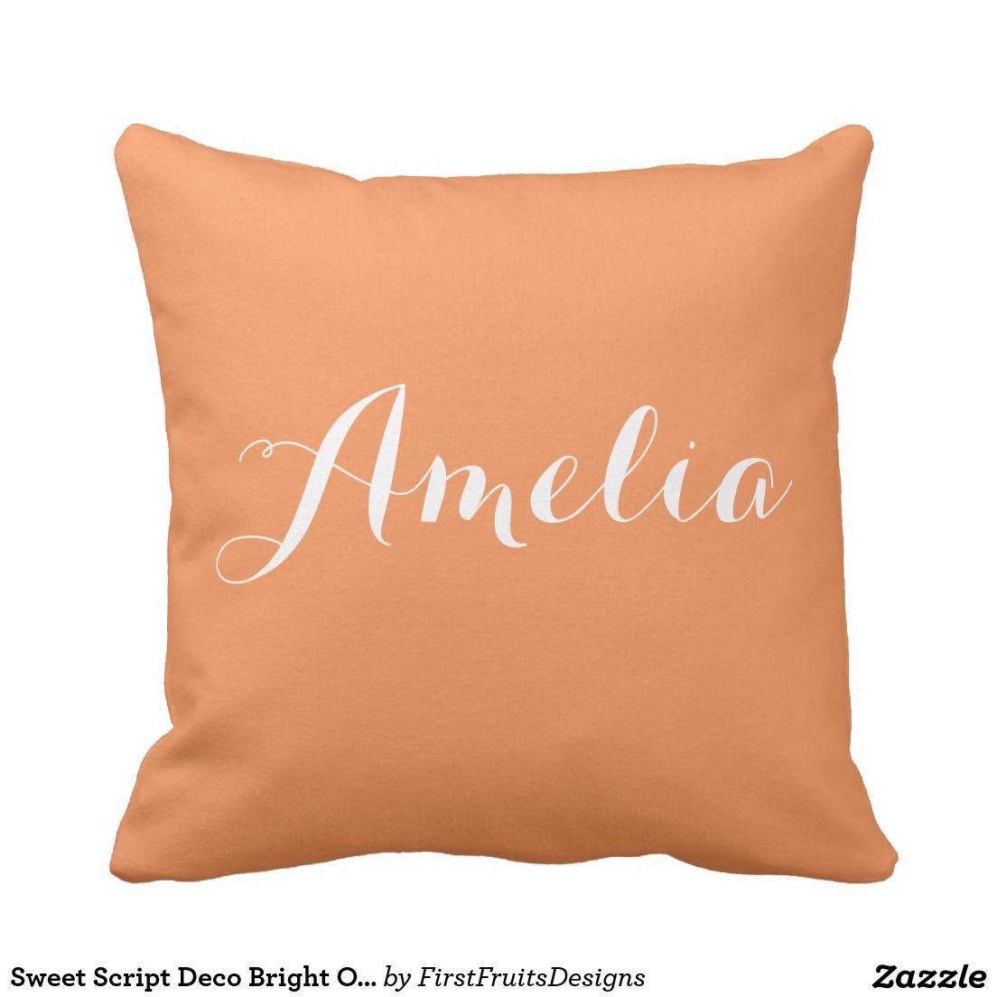 Sweet script deco bright orange white monogram pillow looking for