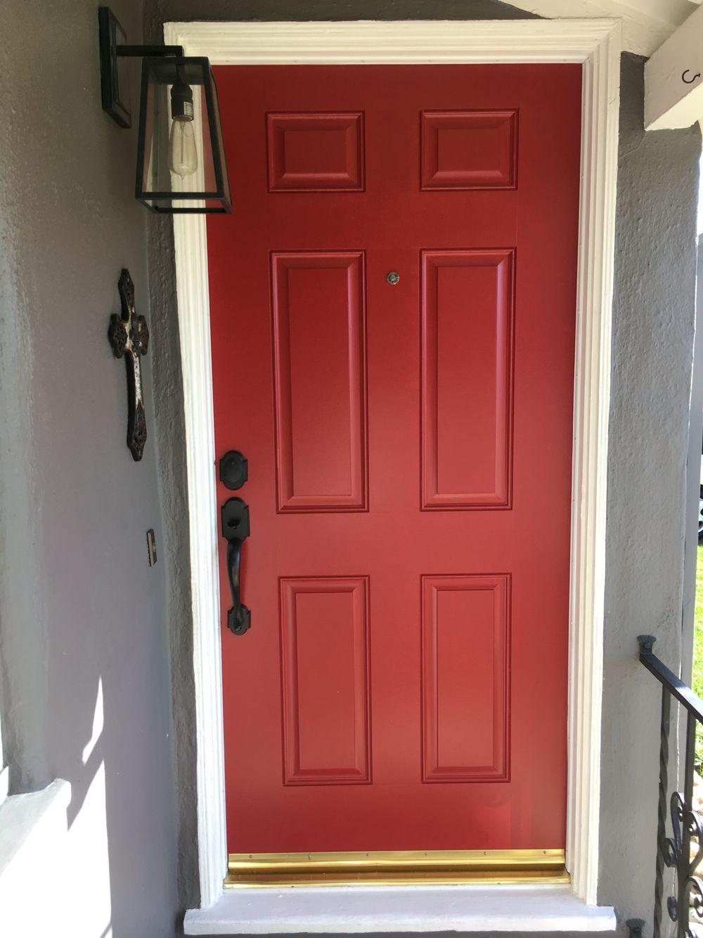 my red door: exterior red door: benjamin moore: caliente af-290