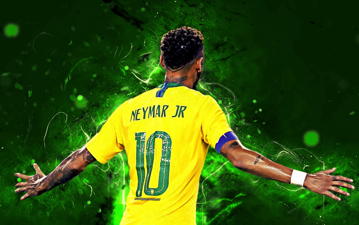Download Wallpapers Neymar Back View Neon Lights Goal Brazil National Team Fan Art Coutinho Neymar Jr Soccer Creative Football Stars Brazilian Football Team Neymar Neymar Jr Football Team