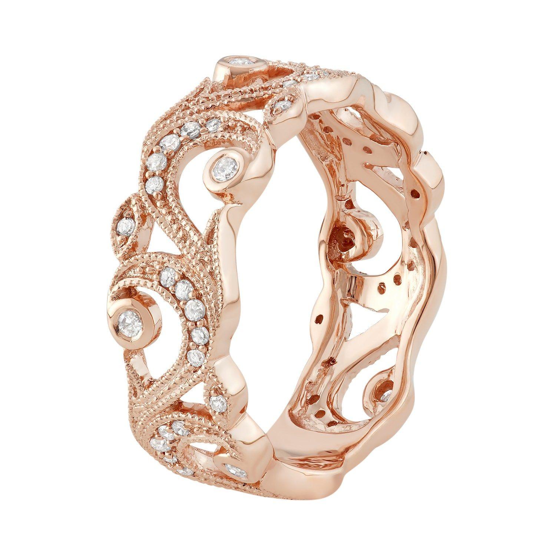 10k Rose Gold 1 4 Carat T W Diamond Filigree Ring Gold Rose Carat Ring Ladies Diamond Rings Bezel Gemstone Rose Gold Diamond Ring