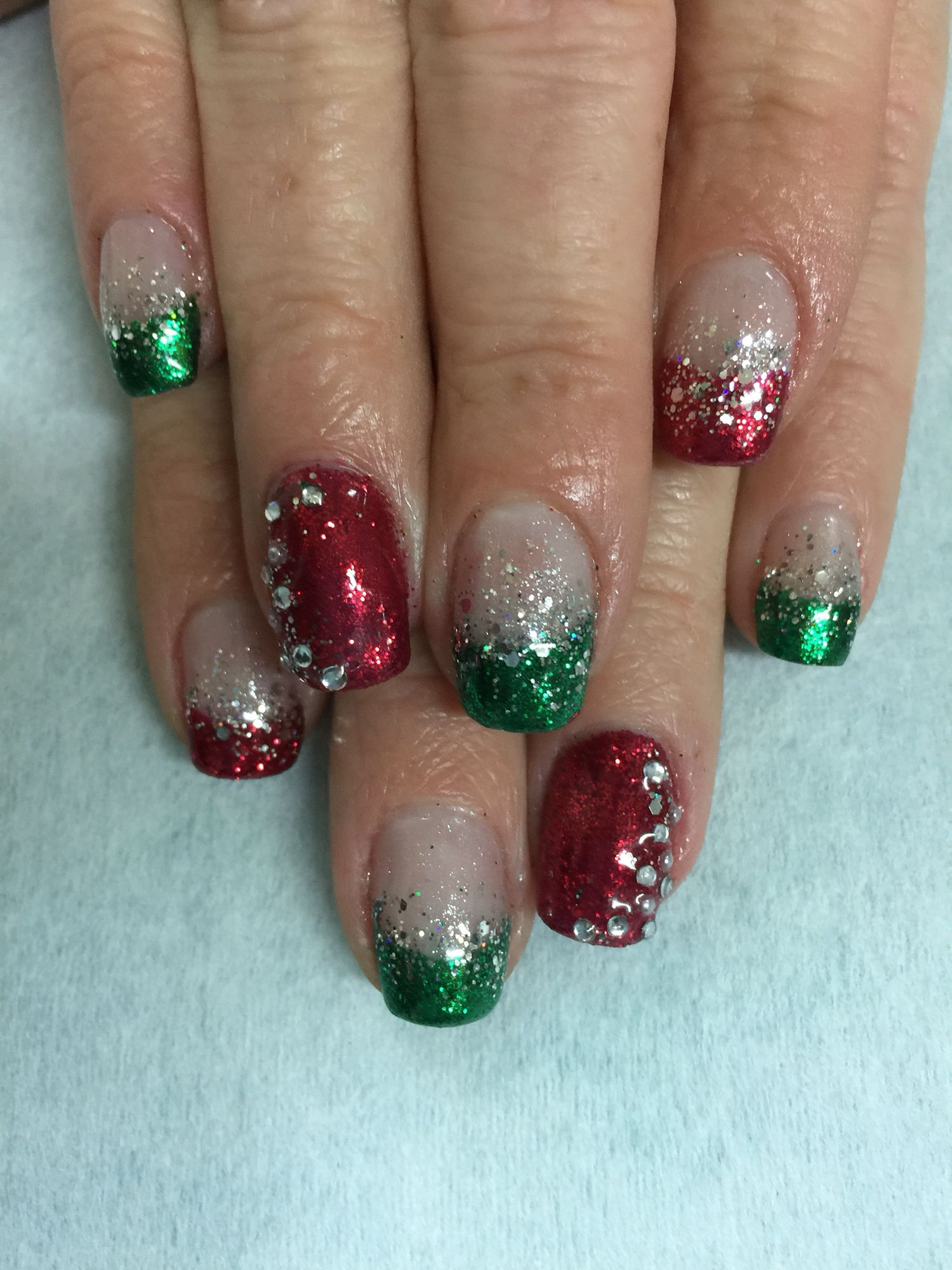 707a91d22cf1 Super sparkly Christmas red   green glitter gel polish over non-toxic  odorless hard gel.