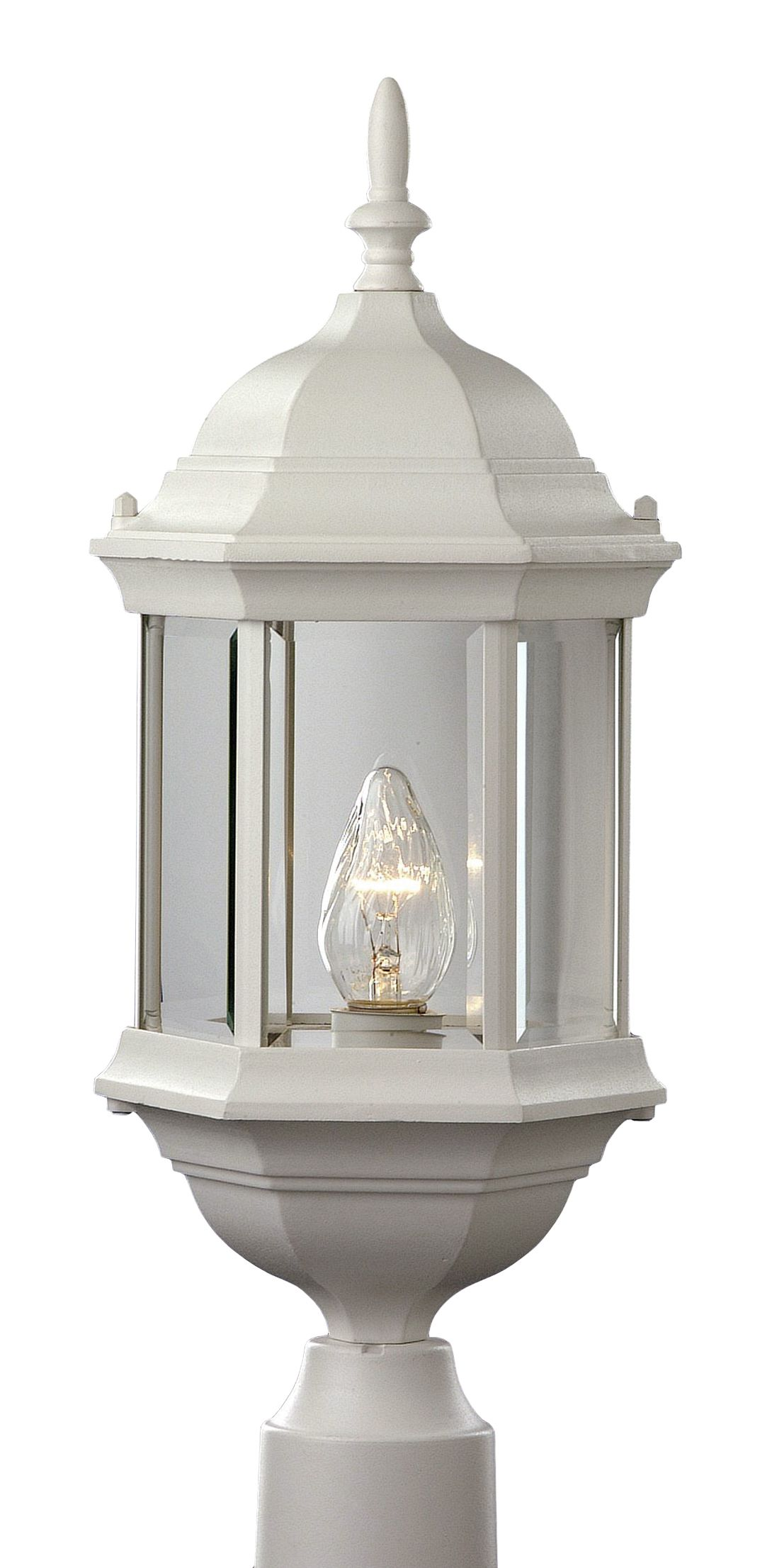 Trans globe 4352 white alicante 23 outdoor post top light - Exterior landscape lighting fixtures ...