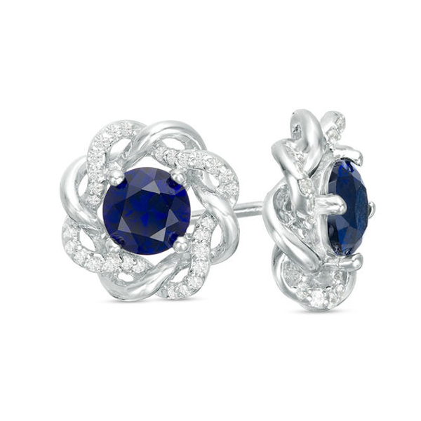 5.0mm Lab-Created Blue Sapphire and 1/6 CT. T.W. Diamond Loose Braided Frame Stud Earrings in 10K White Gold #loosebraids