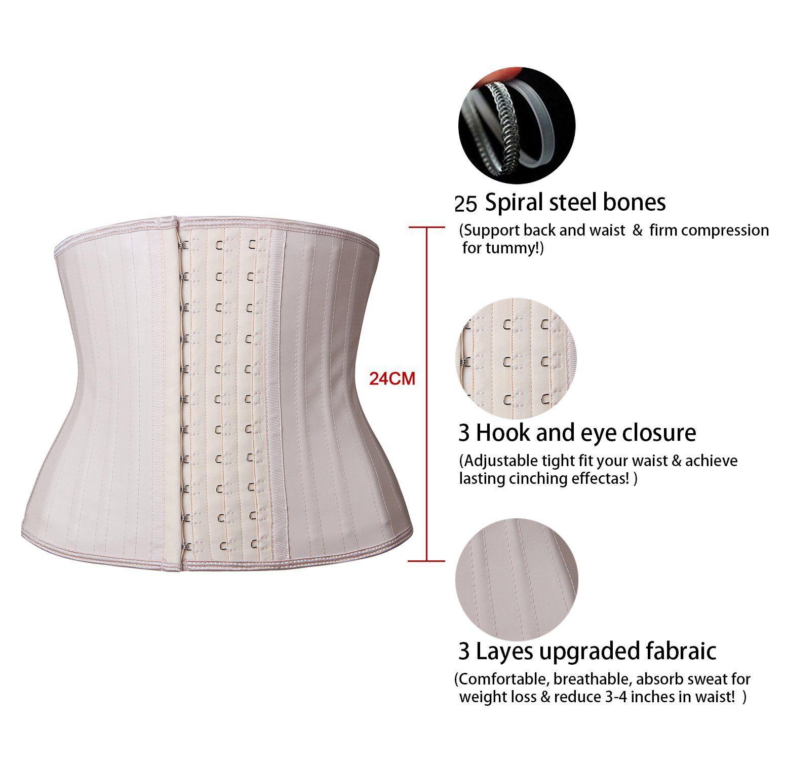 a49c8b0b1bf YIANNA Womens Classic Underbust Latex Sports Girdle Short Torso Waist  Training Corsets For Weight Loss Hourglass Body Shaper Fat Burner  YA110299Beige3XL     ...