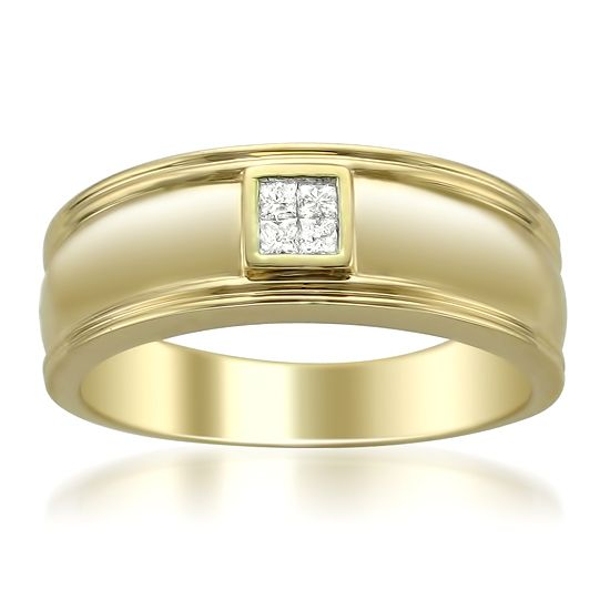 Mens Gold Wedding Rings with Diamonds