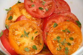 Tomate marinado no azeite e oregano fresco. Blog 510gramas: JANTAR ITALIANO
