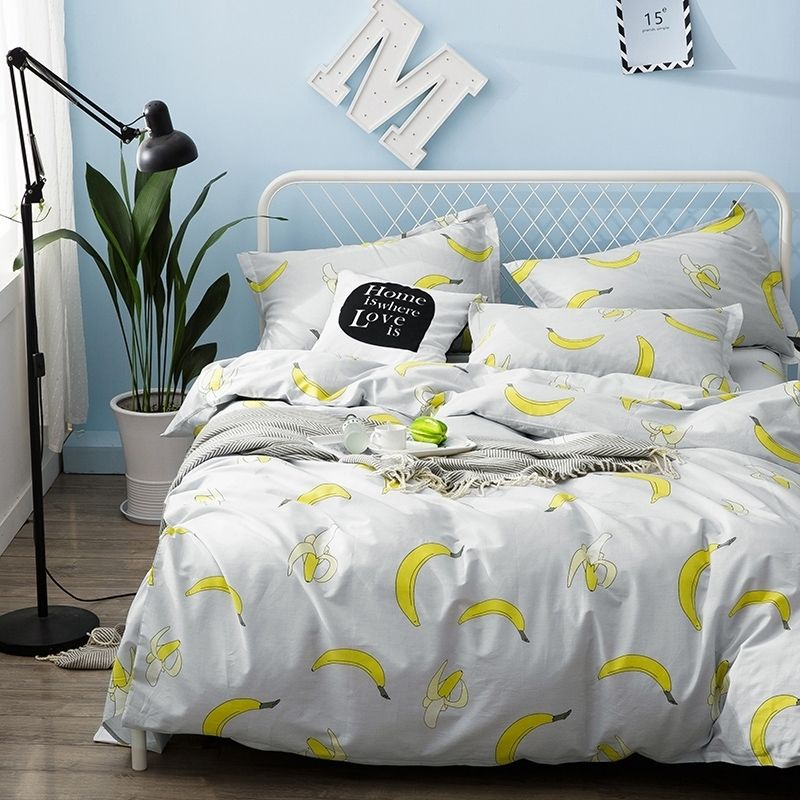 728d9d2cb7 Hipster Yellow and Off-white Fruit Themed Banana Print Personalized Teen  Girls Boys 100% Cotton Twin, Full Size Bedding Sets - HipsterBedding.com