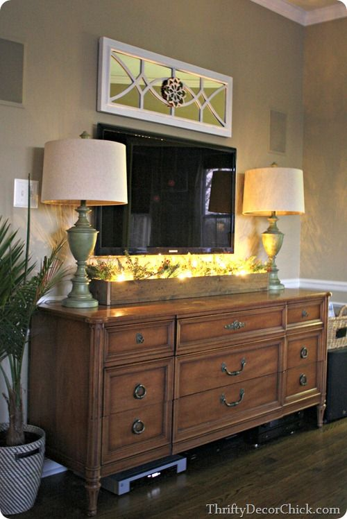 Love the lights and greenery in a long wood box beneath - Dresser as tv stand in living room ...