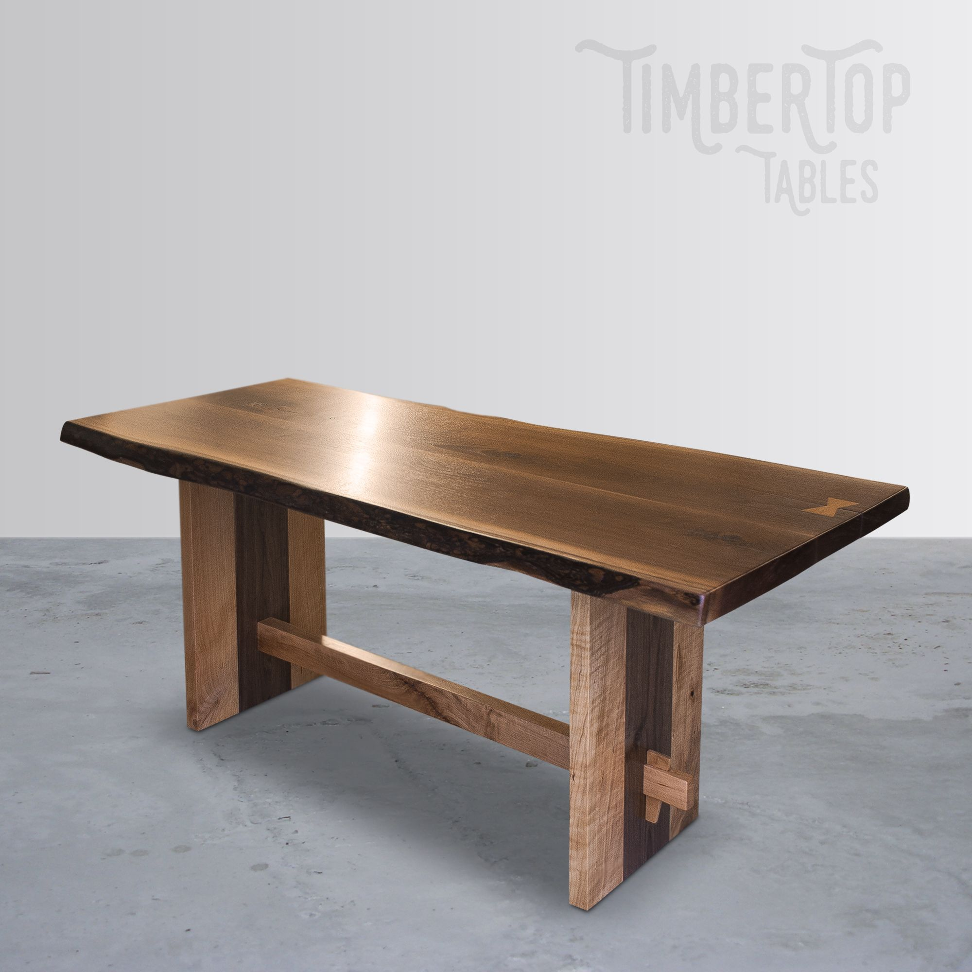 Custom Made Live Edge Walnut And Cherry Dining Trestle Table
