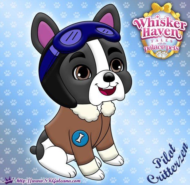Whisker Haven Tales Coloring Page Of A French Bulldog Pilot Disney Princess Pets Disney Princess Palace Pets Princess Palace Pets