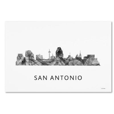 "Trademark Art ""San Antonio Texas Skyline WB-BW"" by Marlene Watson Graphic Art on Wrapped Canvas Size:"