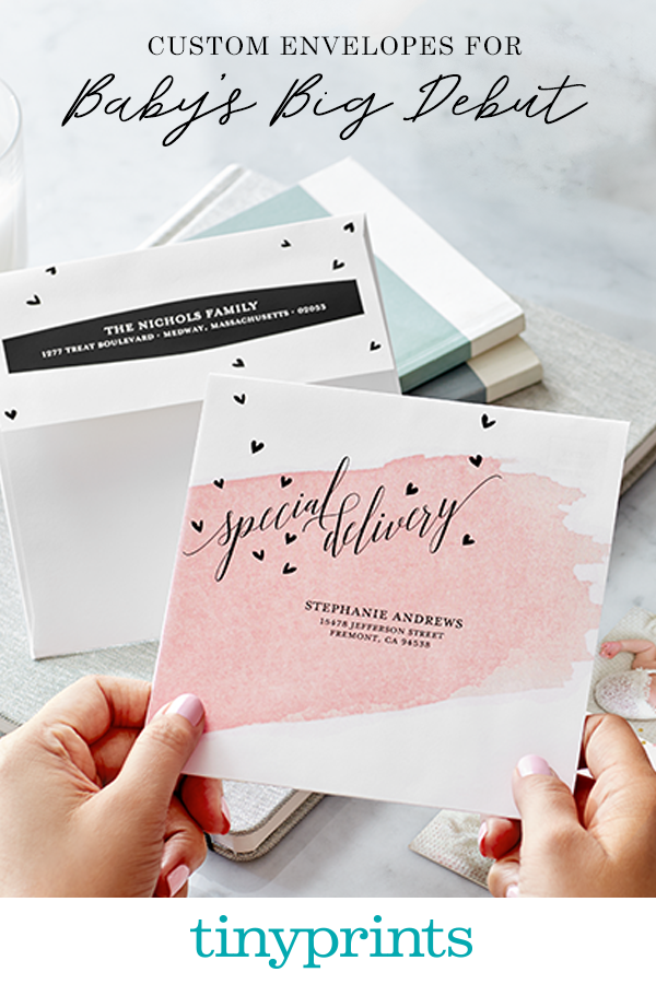 Create your own personalized envelopes at TinyPrints. Learn more about adding free recipient addressing to your custom envelope purchase.