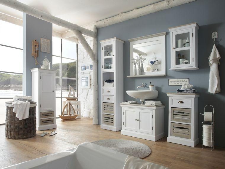 Idea come arredare bagno piccolo, pavimento in legno, mobili di ...