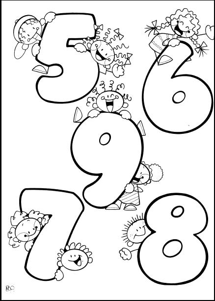 Nmeros del 5 al 9 para colorear pintar dibujar decorar 5 6 7