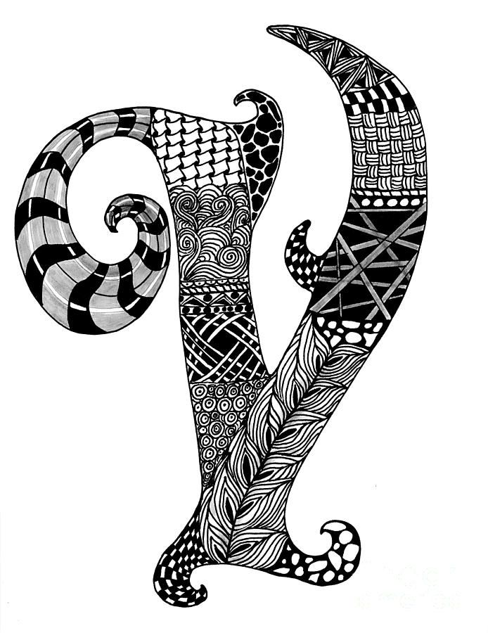 zentangle coloring pages letter n | Zentangle Letter V Monogram Drawing | Zentangle ≈ Alpha ...