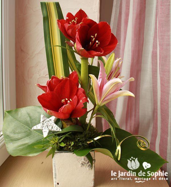 Composition florale no l avec amaryllis rouge fleurs for Amaryllis en bouquet