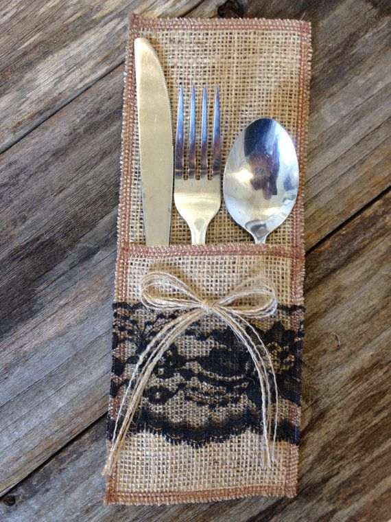 Burlap Utensil Holder Silverware Holder With Black Lace Etsy Silverware Holder Utensil Holder Cutlery Holder