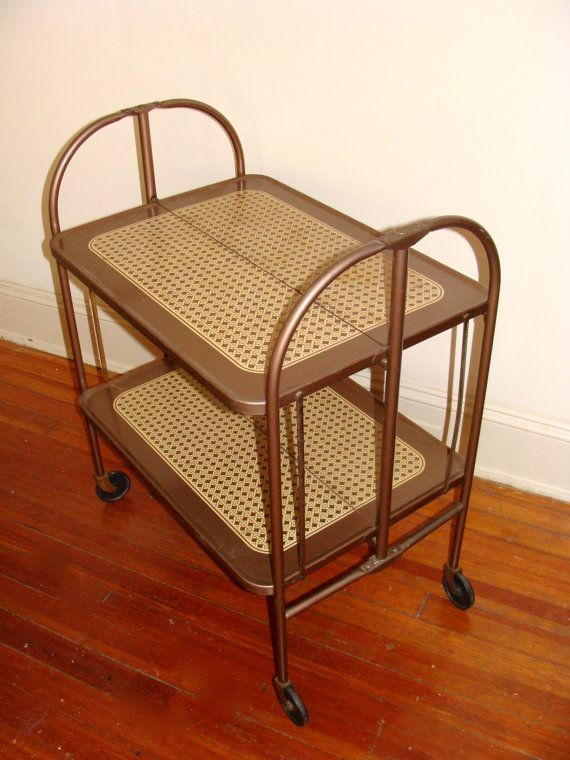 Mid Century Metal Rolling Cart Folding Bar Cart Collapsible Bookcase Or Kitchen Storage Retro Rattan Detailing On W Vintage Carts Folding Bar Cart Rolling Cart
