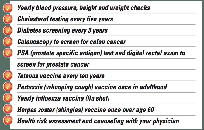 Preventive Health Guidelines For Men 50 65 Preventive Medicine Live Well Program Preventative Health Health Guidelines Preventive Medicine