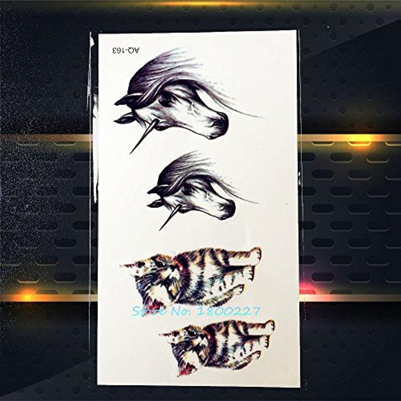Henna Tattoo Für Jungs: GSN 1PC 3D Fake Flash Horse Temporary Tattoo Stickers For