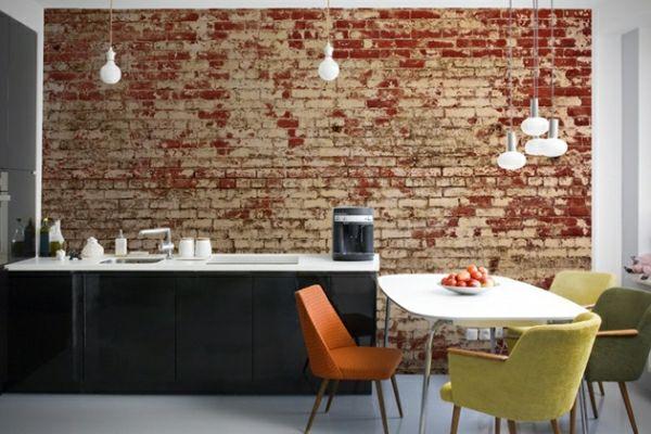 Küchentapete landhausstil ~ Backstein tapete landhausstil küchenrückwand ziegelstein tapete