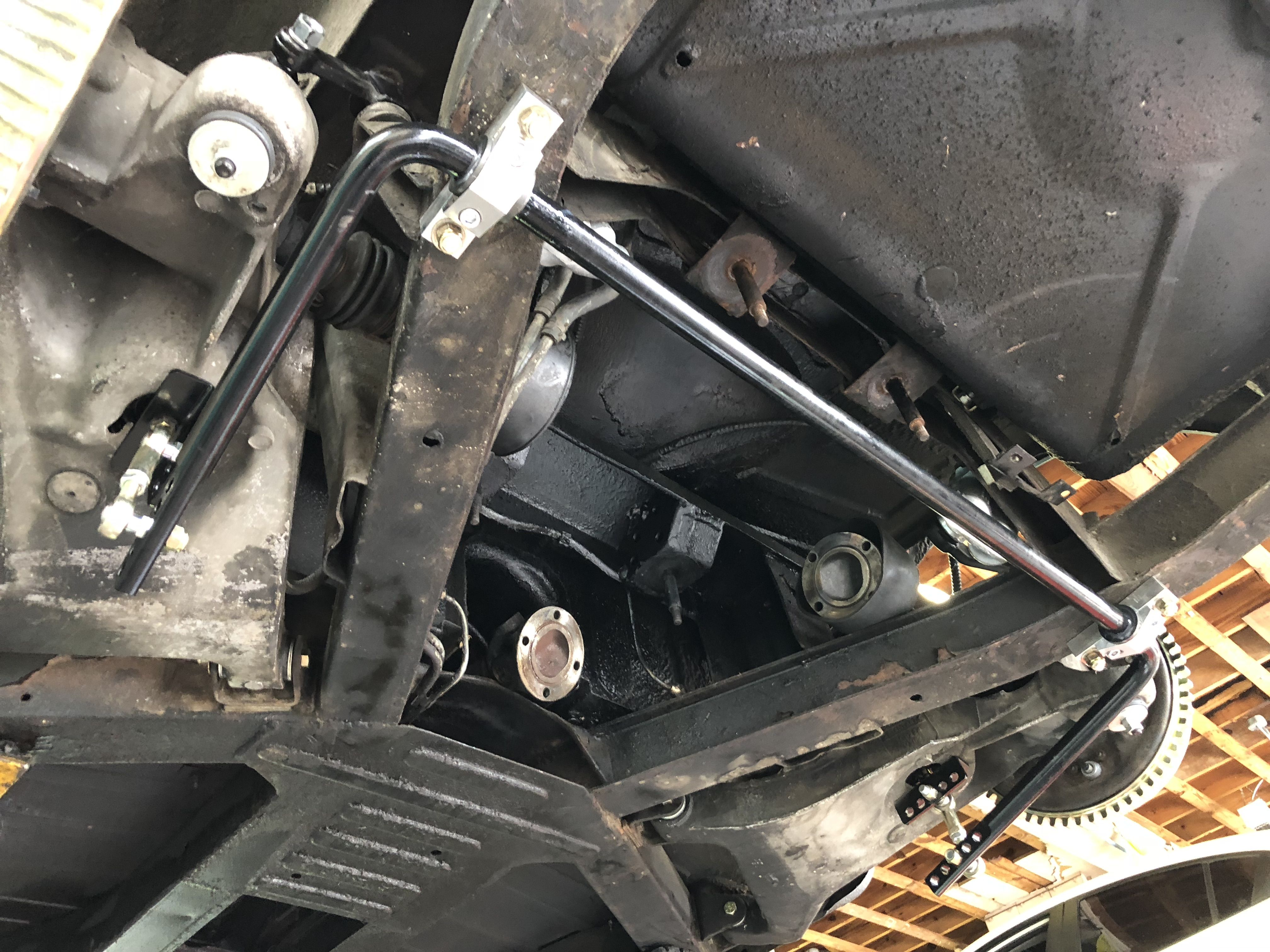 Tr6 Rear Sway Bar Being Installed Triumphs Electronics Gears
