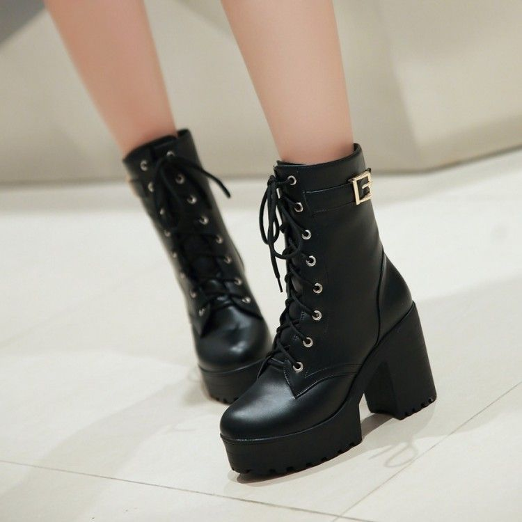 41c4aea986e Buy Shoes Galore Platform Block Heel Lace Up Short Boots at YesStyle.com!  Quality products at remarkable prices. FREE Worldwide Shipping available!