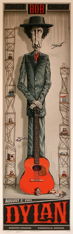 Bob Dylan concert poster, Roberts Stadium, Evansville, Indiana, August 2, 2011