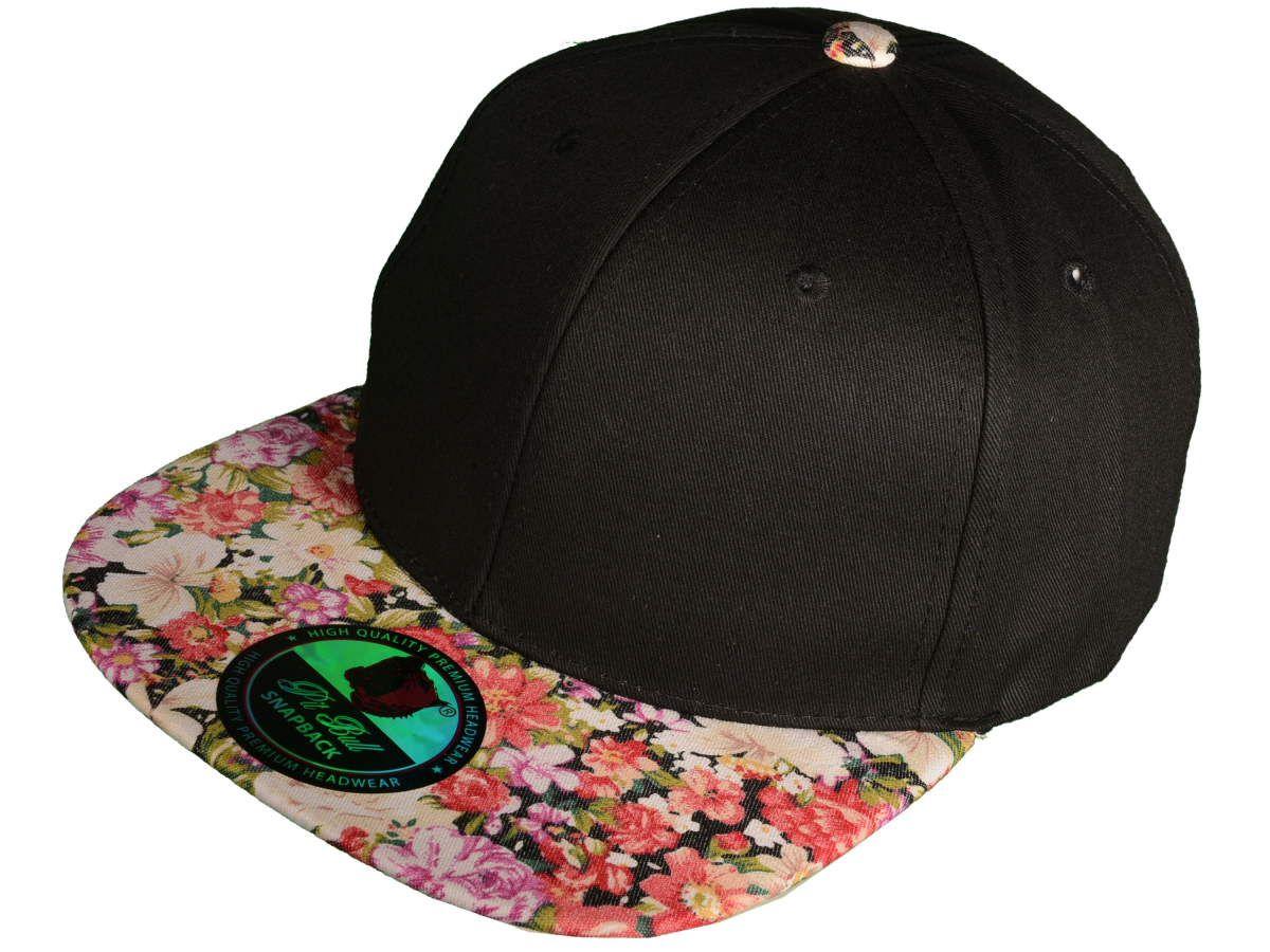 Wholesale Cotton Blank Flat Bill Floral Snapback Hats Black Flower Brim Snapback Hats Hats Flat Bill Hats