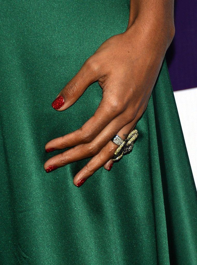 Kelly Rowland Glitter Nail Polish | Emerald green dresses, Glitter ...