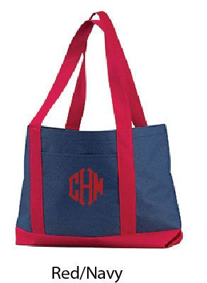 Embroidered Dual Colored Boat Tote Bag by totebags4lesscom on Etsy
