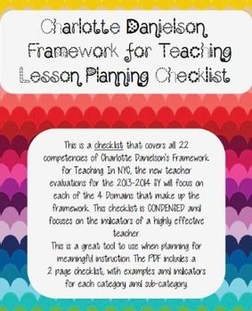 This is a checklist that covers all of Danielson's Framework. The checklist is CONDENSED and focuses on the indicators of a highly effective teacher.This is a great tool to use when planning for meaningful instruction. The PDF includes a 2 page checklist, with examples and indicators of for category and sub-category.I use this to plan each lesson, and attach to my final copy.