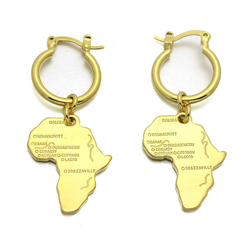18kgp Gold Plated African Map Symbol Of Unity Charm Earrings