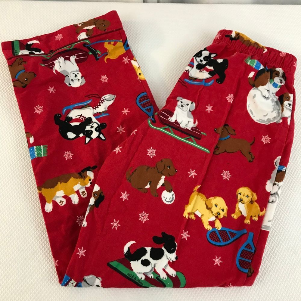 Flannel shirts for dogs  Nick And Nora Christmas Puppies Dogs Flannel Pajama Pants S Red