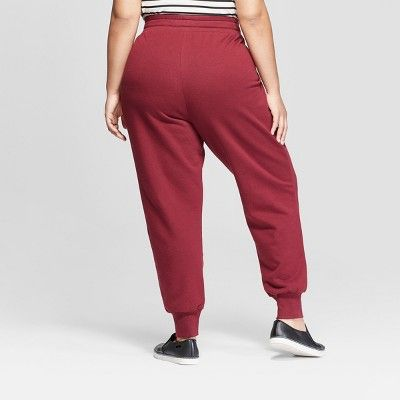 the cheapest select for original search for official Women's Plus Size Jogger Pants - Ava & Viv Burgundy 4X, Size ...