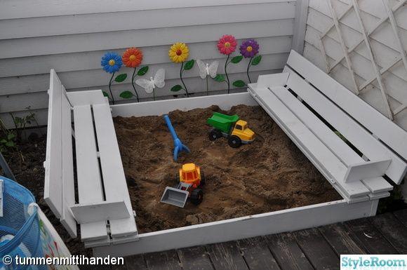 bygga sandlåda med bänk