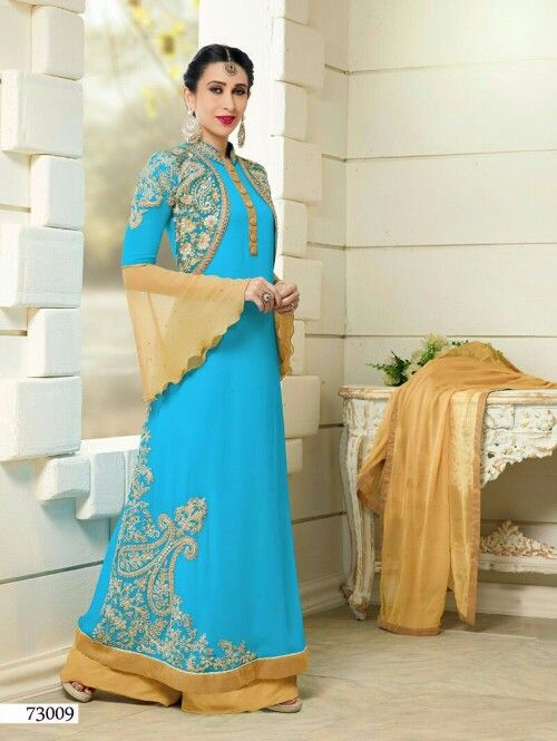 9db1d35aa4 Sleeves plazo gold blue | indian/pakistani style | Anarkali suits ...