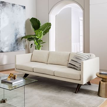 Brooklyn 81 Sofa Velvet Cement Walnut Modernist Pinterest